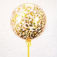 Большой шар с золотым конфетти звезды
