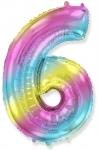 Цифра 6 нежная радуга