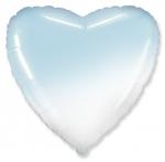 """Шар сердце """"Градиент голубой"""" 45 см"""