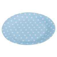 Тарелки голубые в горошек ( 9 дюйм, 6шт )
