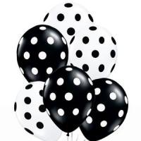 Воздушные шары горошек черные/белые