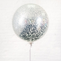 Большой шар с серебряным конфетти круги