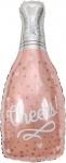 """Шар """"Бутылка шампанского конфетти сердец"""" розовое золото"""