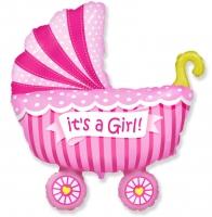 Воздушный шар Коляска розовая