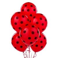 Воздушный шар красный в черный горох