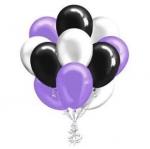 """Облако шаров """"Белые, фиолетовые и черные"""""""